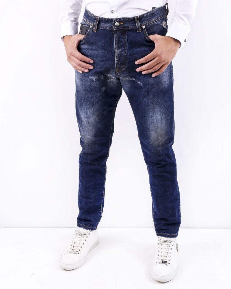 Jean skinny en coton bleu effet usé John Richmond
