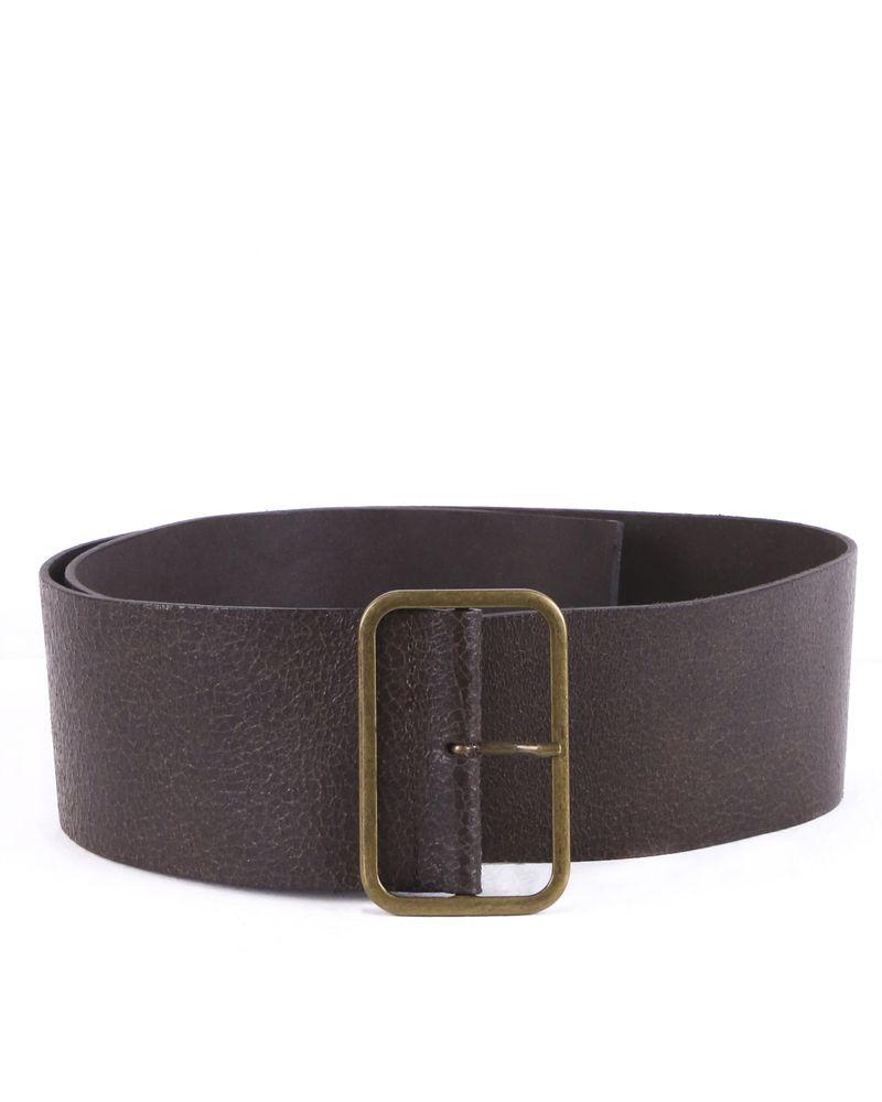 Large ceinture en cuir irisé marron Hache
