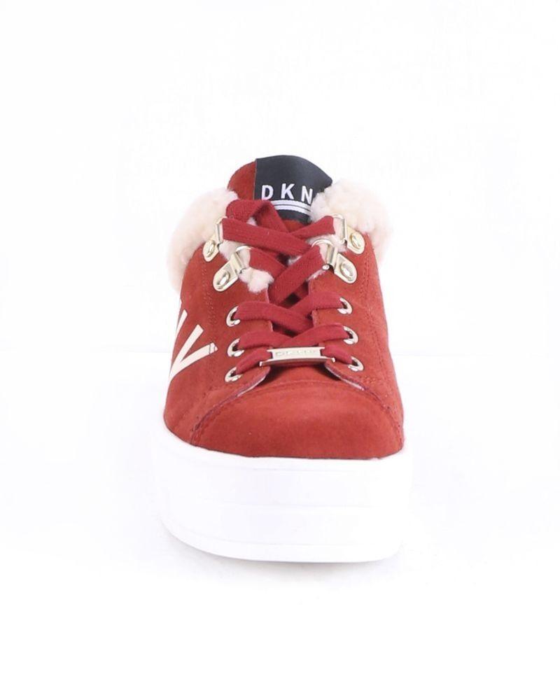 Baskets en cuir rouge fourrées DKNY