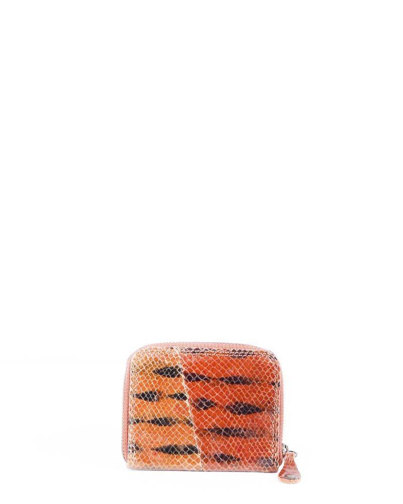 Porte monnaie en python glacé bicolore Maison Margiela