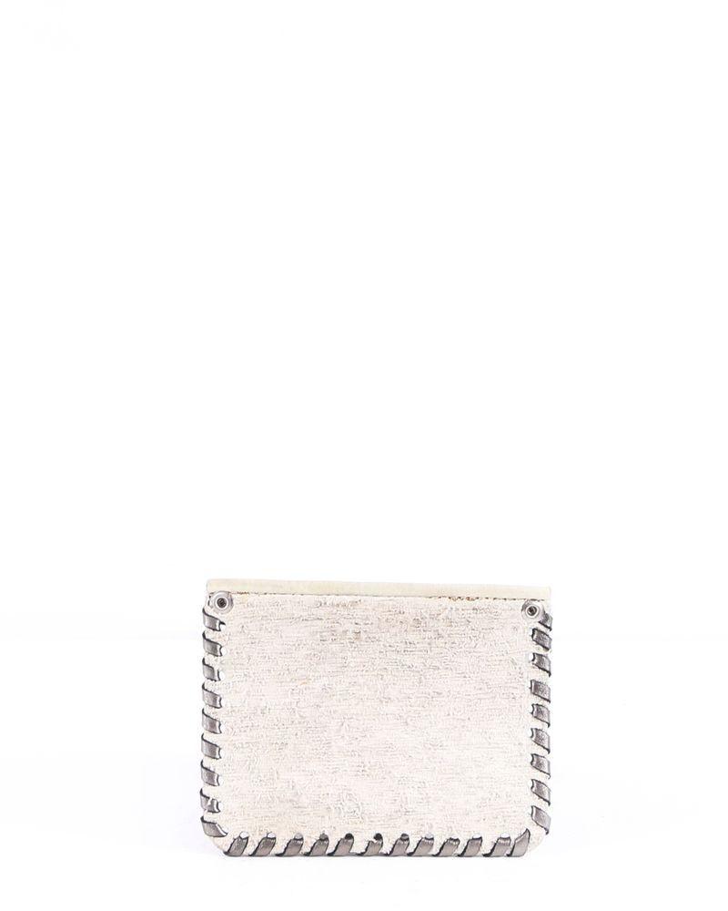 Portefeuille en cuir beige texturé Maison Margiela