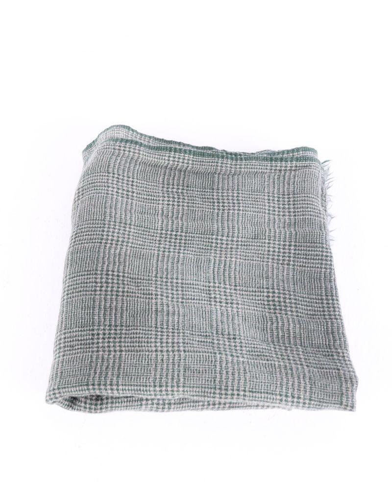 Foulard en laine kaki à carreaux Faliero Sarti