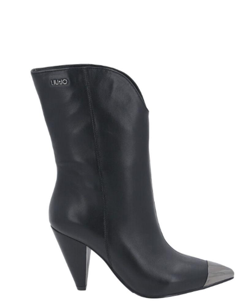 Boots en cuir noir à bout métallique Liu Jo