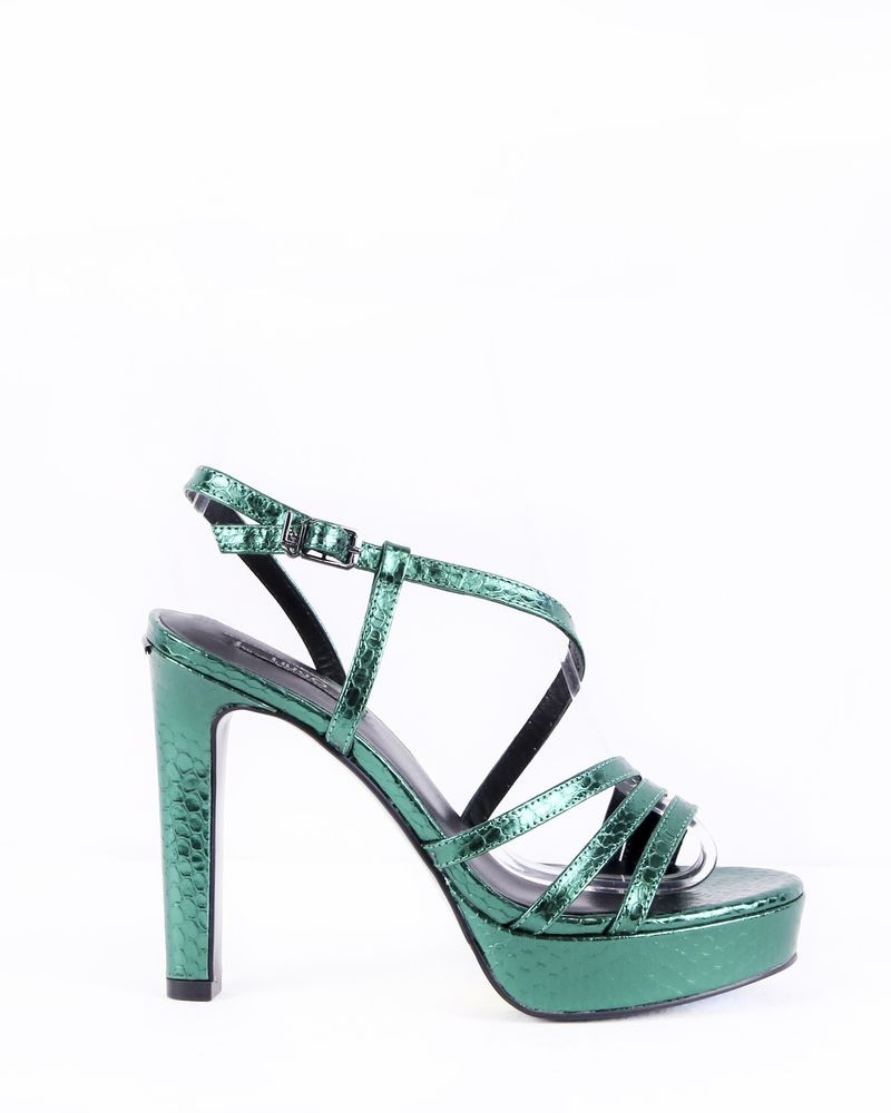 Sandales à talon en cuir lamé vert Liu Jo