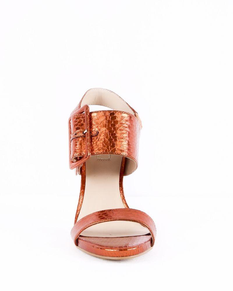 Sandales à talon en cuir lamé orange Liu Jo