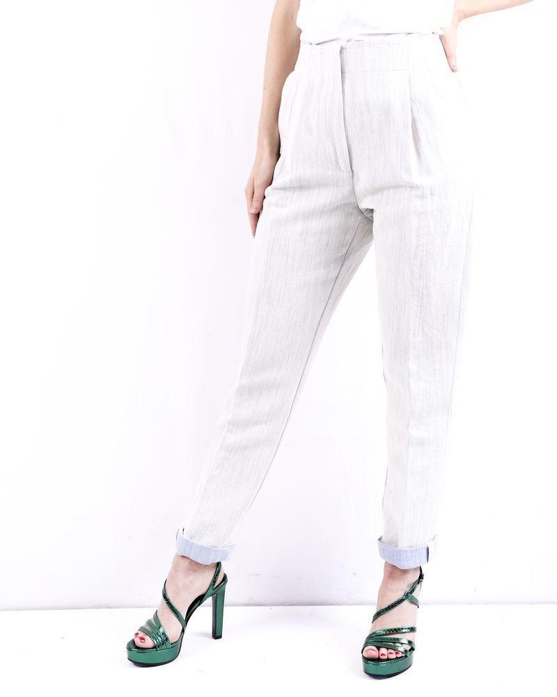 Pantalon en laine gris côtelé délavé Forte Forte