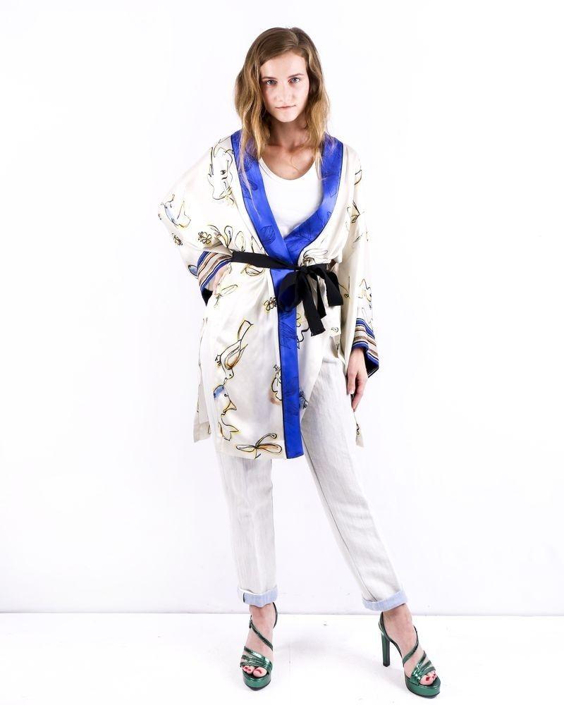 Kimono en soie beige à imprimé floral Forte Forte