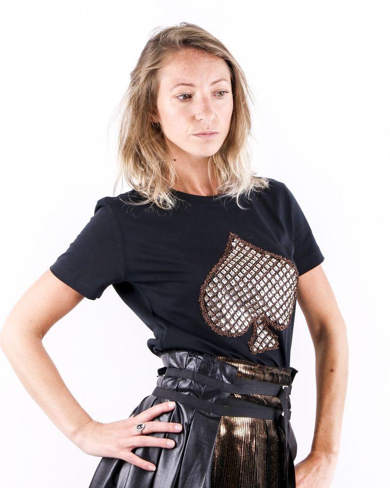 T-Shirt noir à broderie Pique Jijil