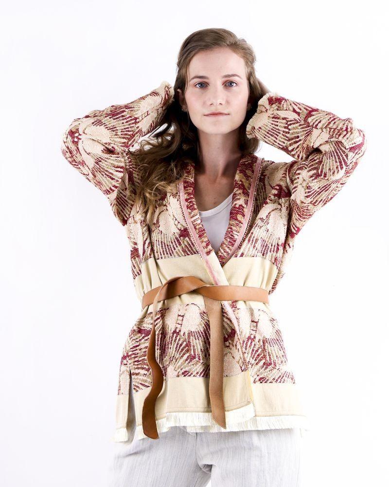 Veste beige d'inspiration kimono à imprimés abstraits Forte Forte