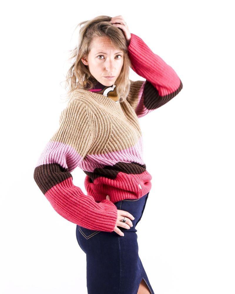 Pull en laine mélangée multicolore Jijil