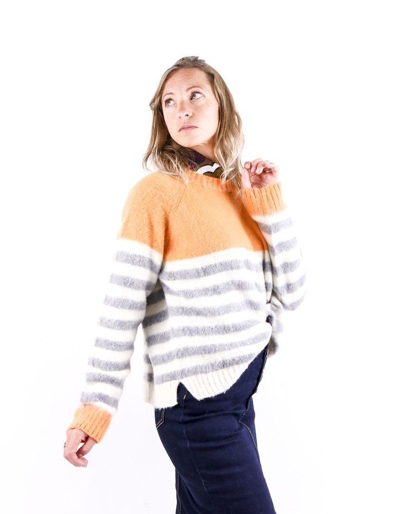 Pull en laine tricolore rayé Woolgroup