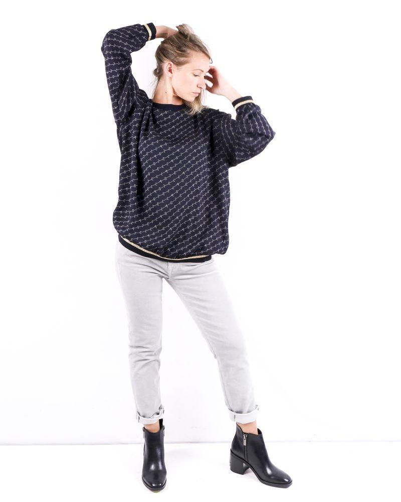 Sweat oversize en soie bleu à logo Stella McCartney