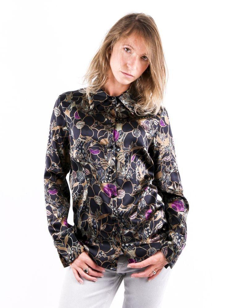 Chemisier en soie noire à motif floral Momoni