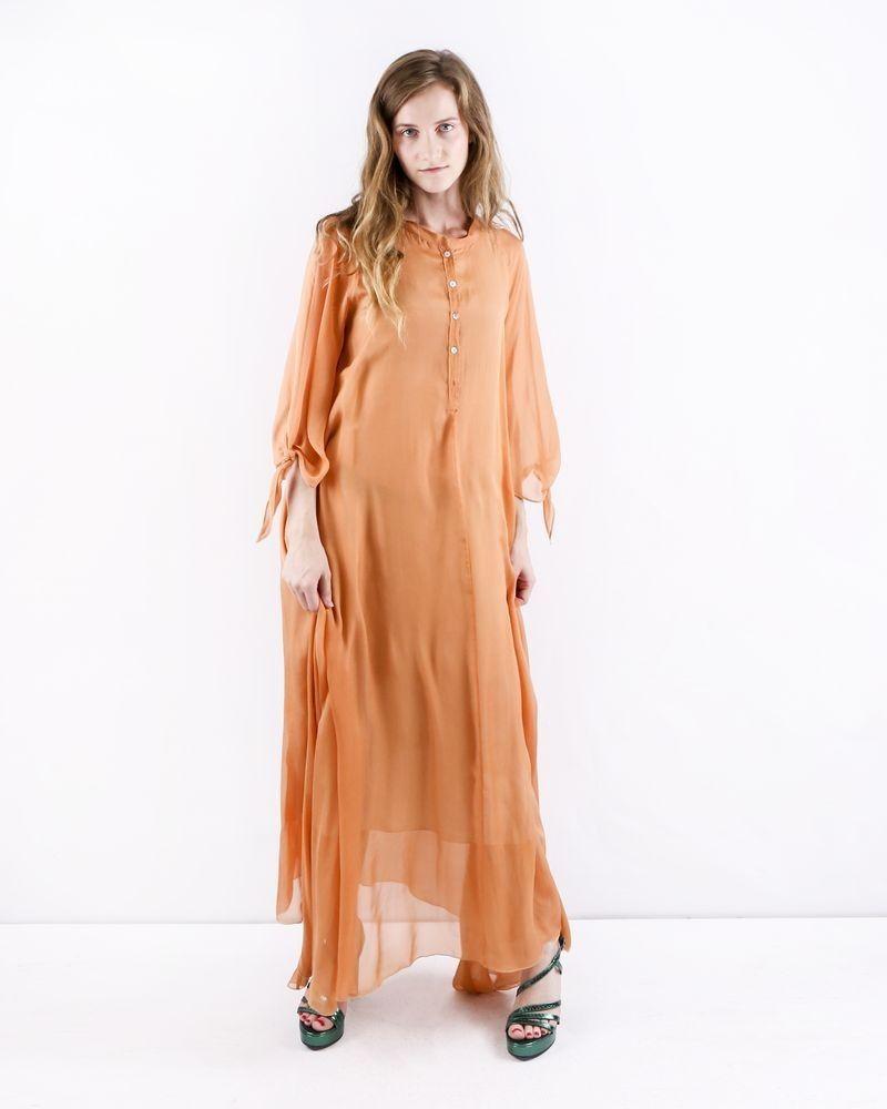 Robe en soie orange à col tunisien Forte Forte
