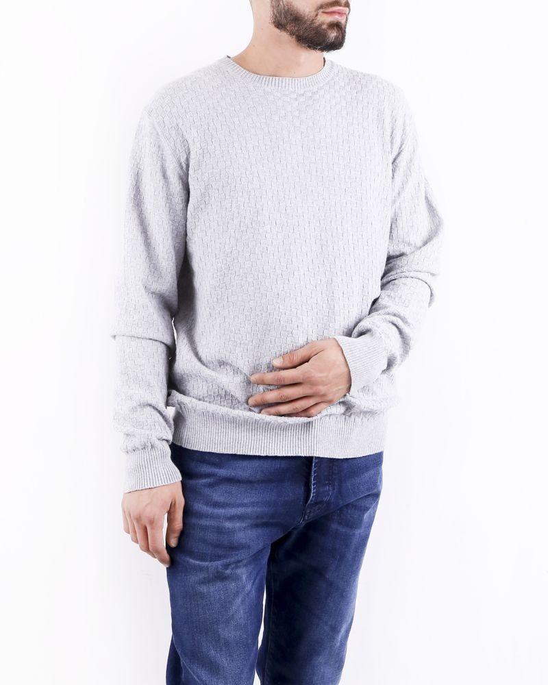 Pull en coton gris à motifs géométriques Woolgroup