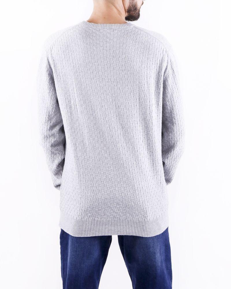 Pull en coton gris à motif géométrique Woolgroup