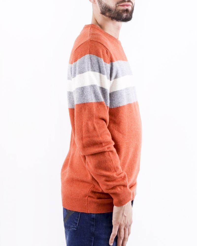 Pull en coton tricolore en mérinos et cachemire Woolgroup