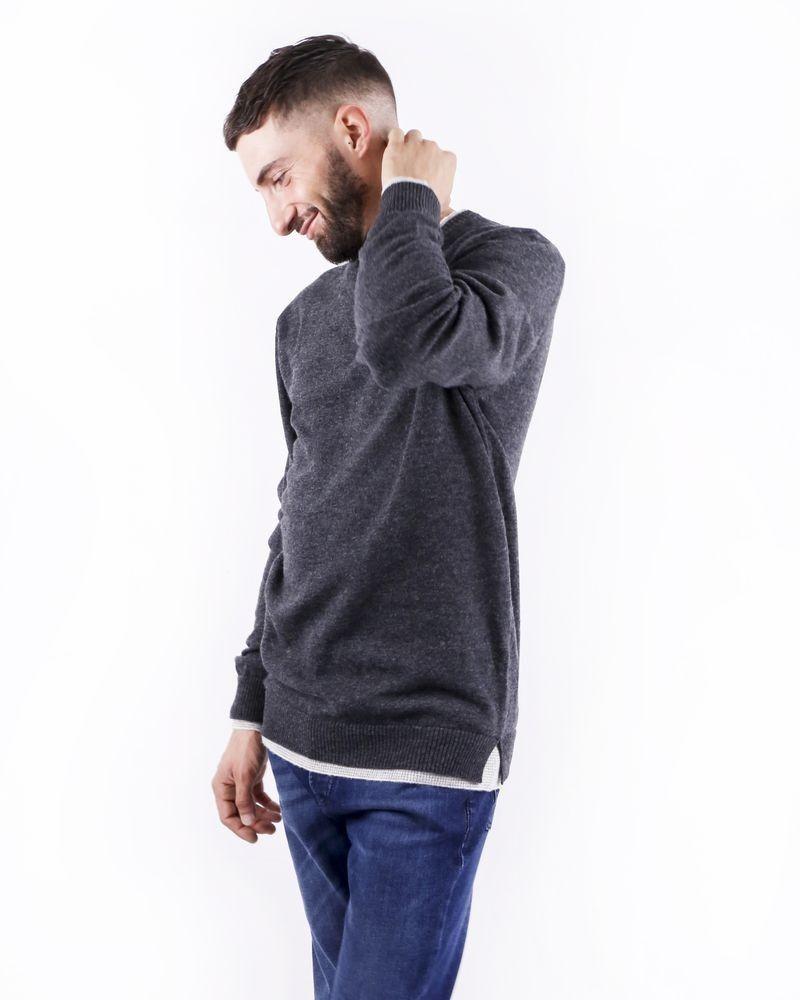 Pull gris chiné à effet superposé Woolgroup