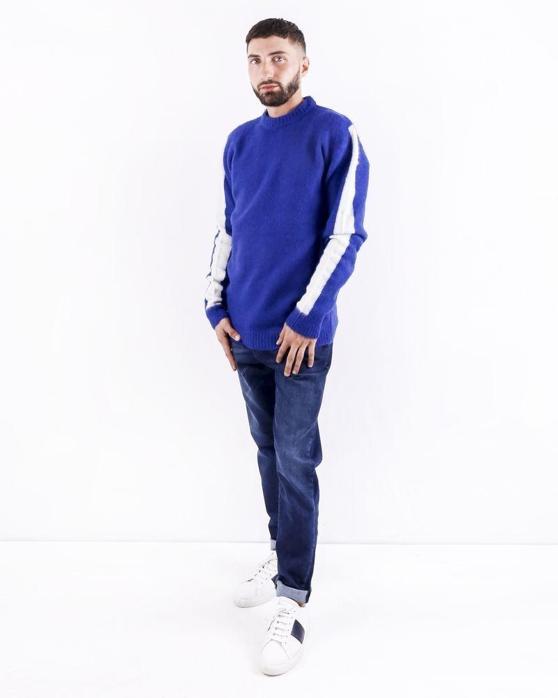 Pull en laine bleu à bandes latérales Woolgroup
