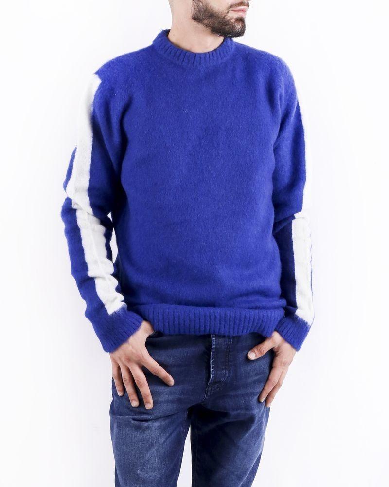 Pull en laine bleue à bandes latérales Woolgroup