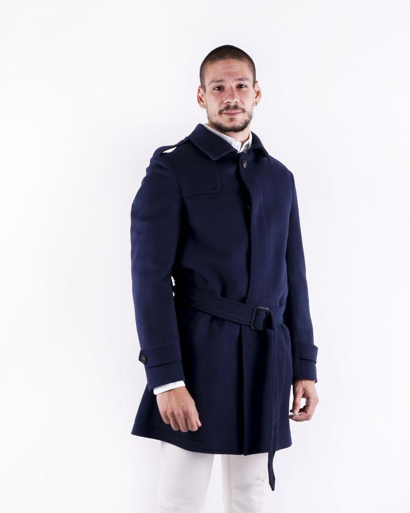 Manteau cintré en laine bleue Ly Adams