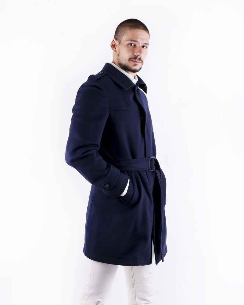 Manteau cintré en laine bleu Ly Adams