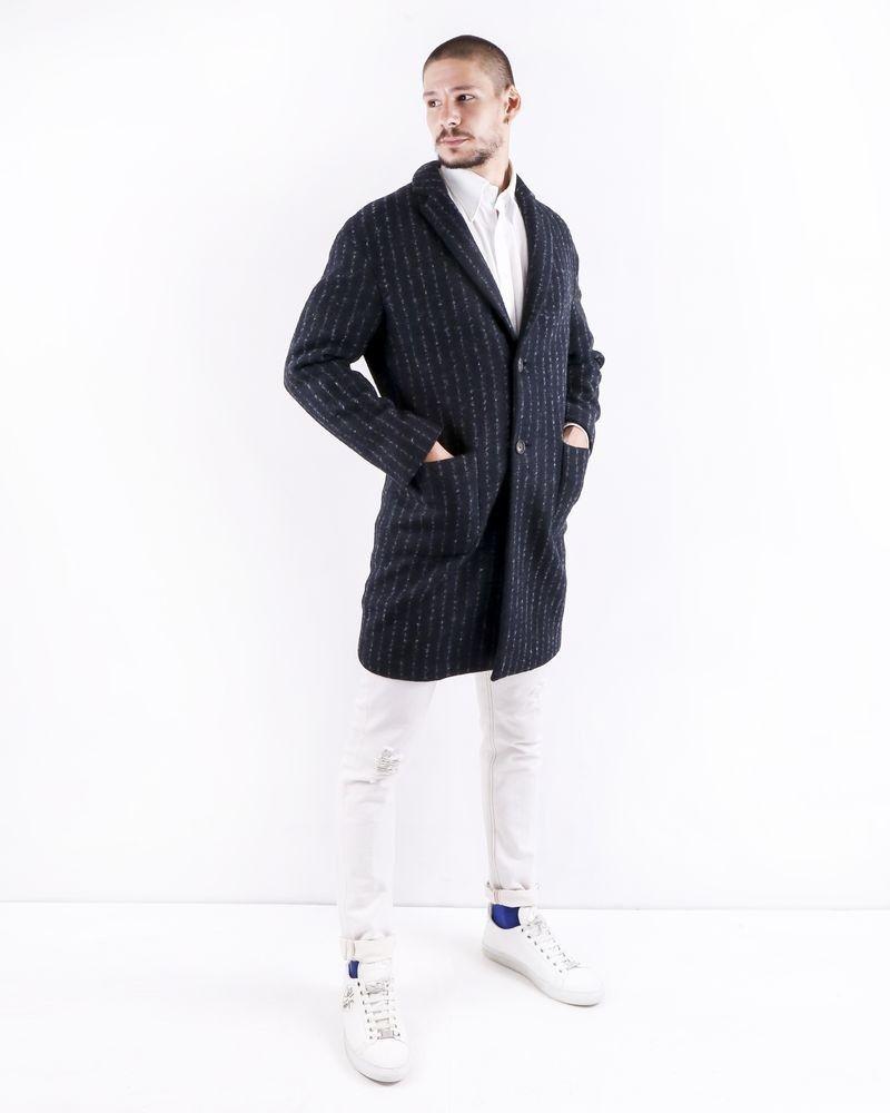 Manteau en laine bouillie gris rayé Ly Adams