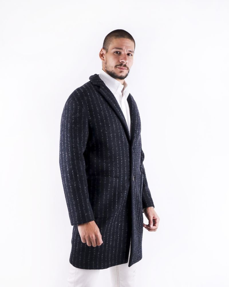 Manteau en laine bouillie grise rayée Ly Adams