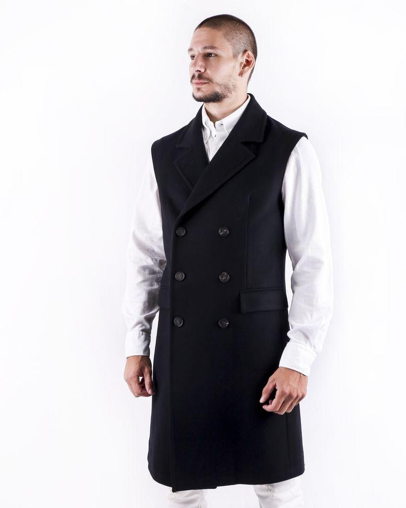 Manteau sans manches en laine noire Ly Adams