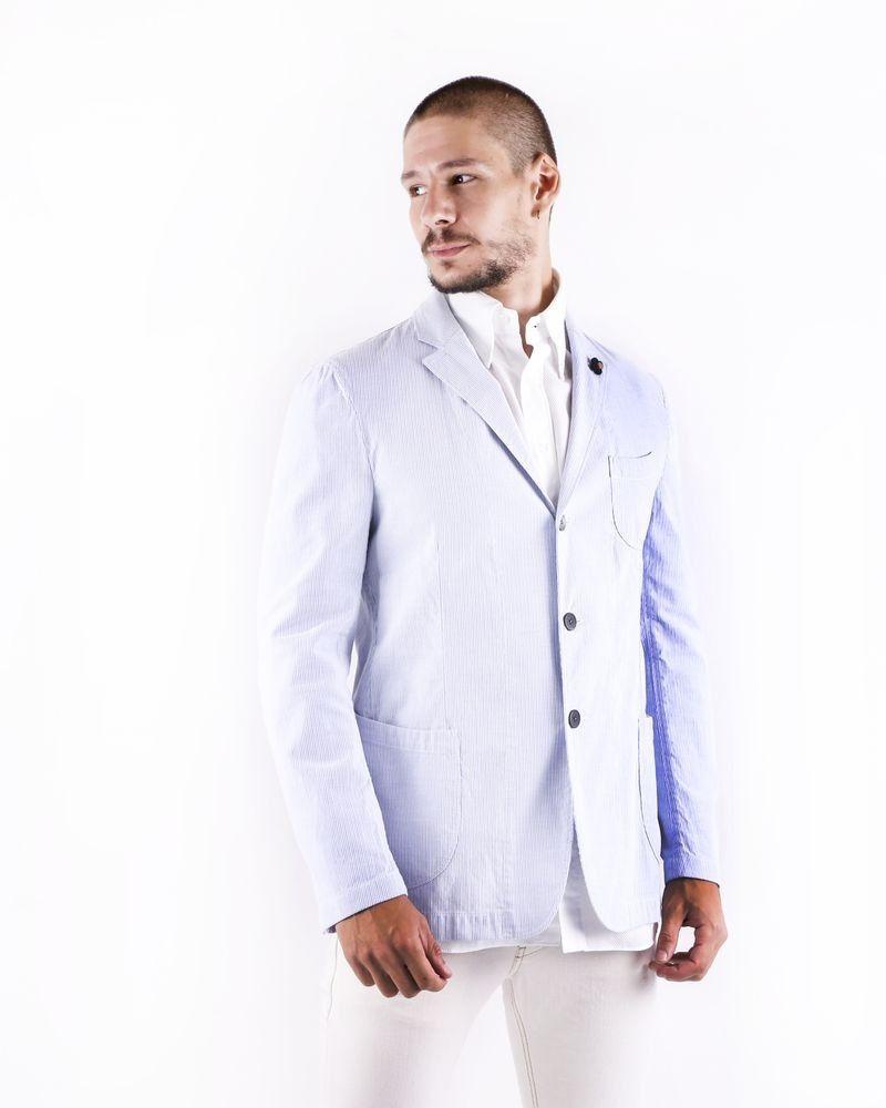 Veste légère en coton bleu ciel rayé Lardini