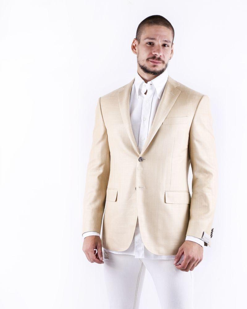 Veste cintrée en laine beige texturée Corneliani