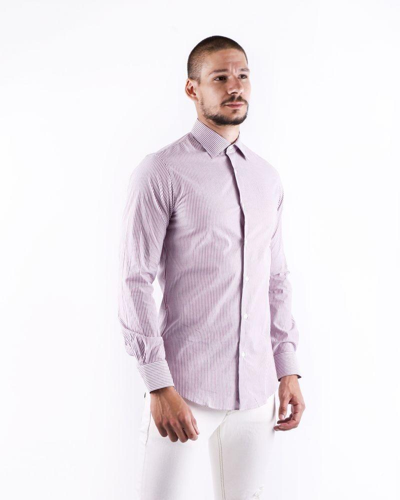 Chemise en coton violette rayée Pal Zileri
