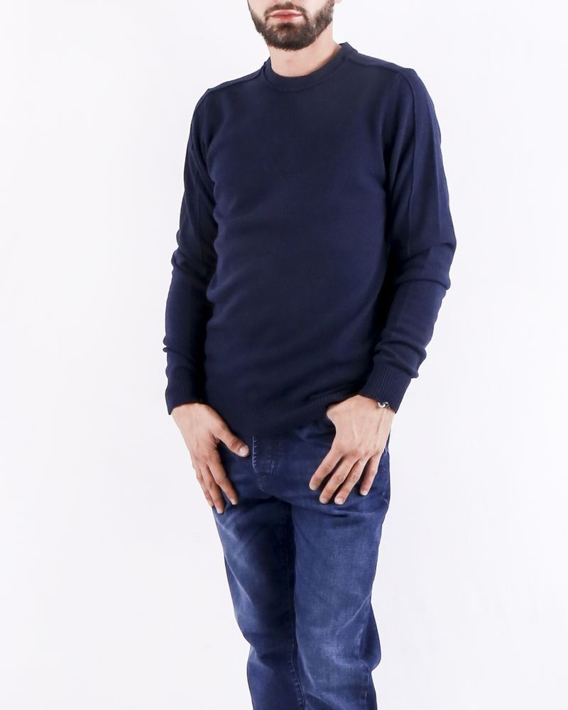 Pull col rond bleu Woolgroup