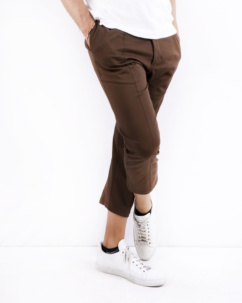 Pantalon carotte en coton marron Low Brand