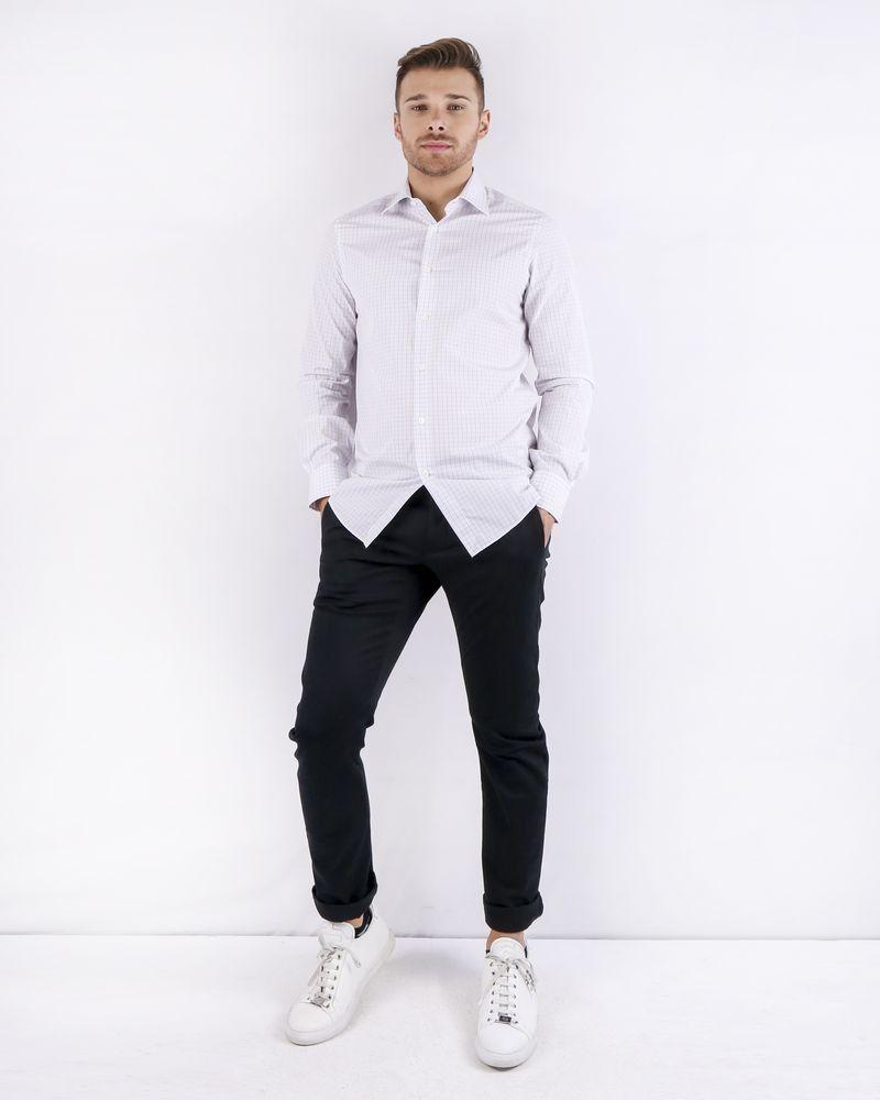 Chemise en coton blanc à carreaux Pal Zileri