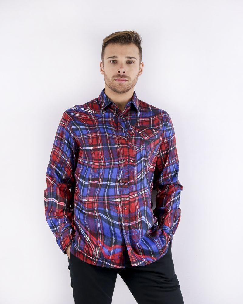 Chemise tricolore à carreaux fantaisies Roberto Cavalli