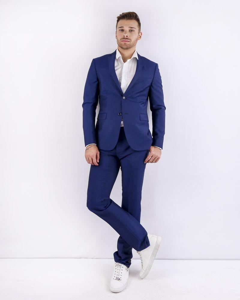 Costume cintré 2 pièces en laine bleue Ly Adams