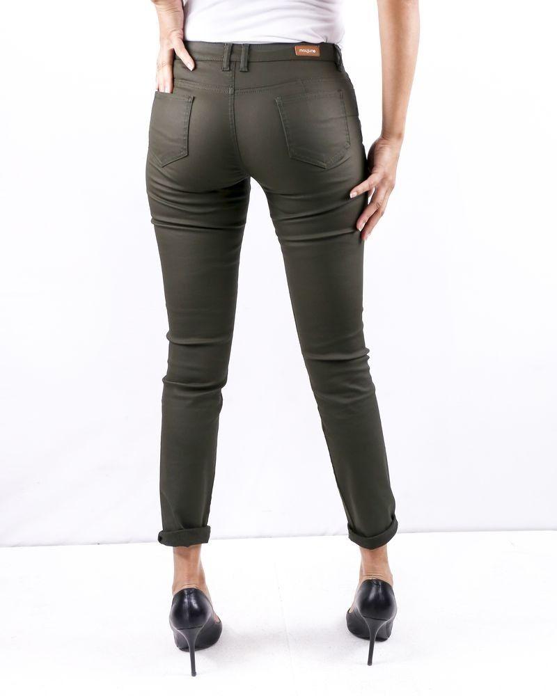 Pantalon skinny kaki effet huilé May June