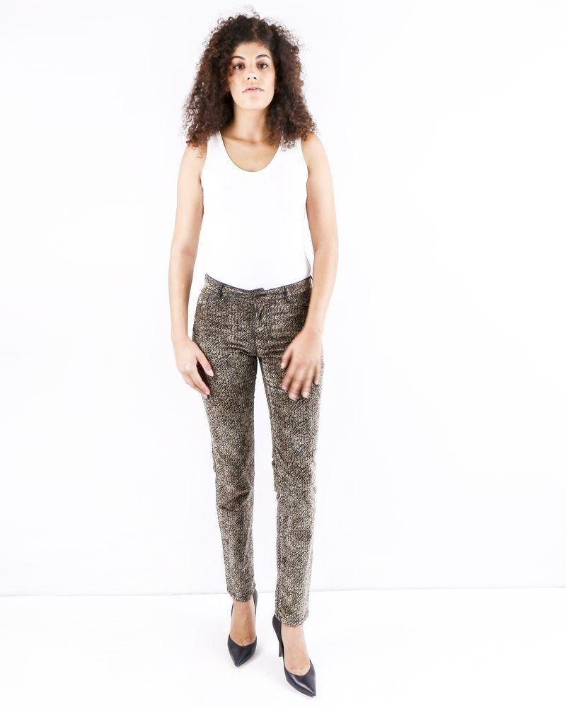 Pantalon en velours marron à motifs fantaisies May June
