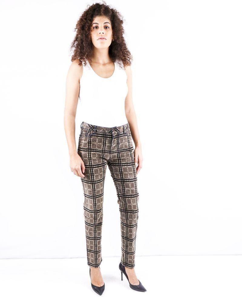Pantalon en velours marron à motifs May June
