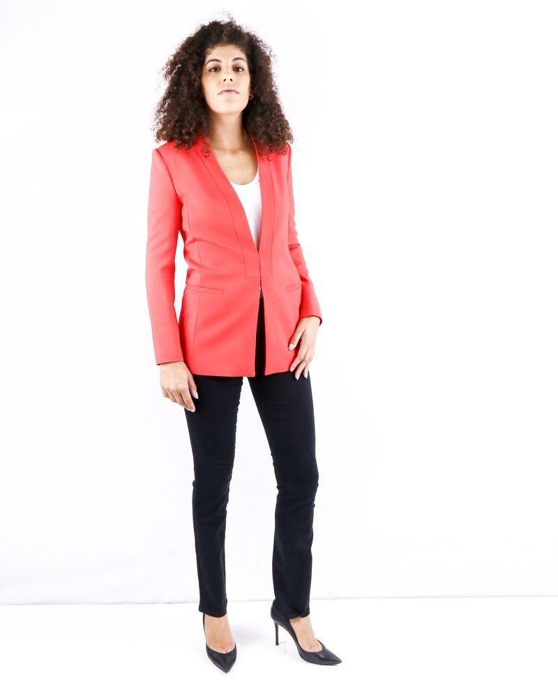 Veste mi longue en crêpe rouge Elisabetta Franchi