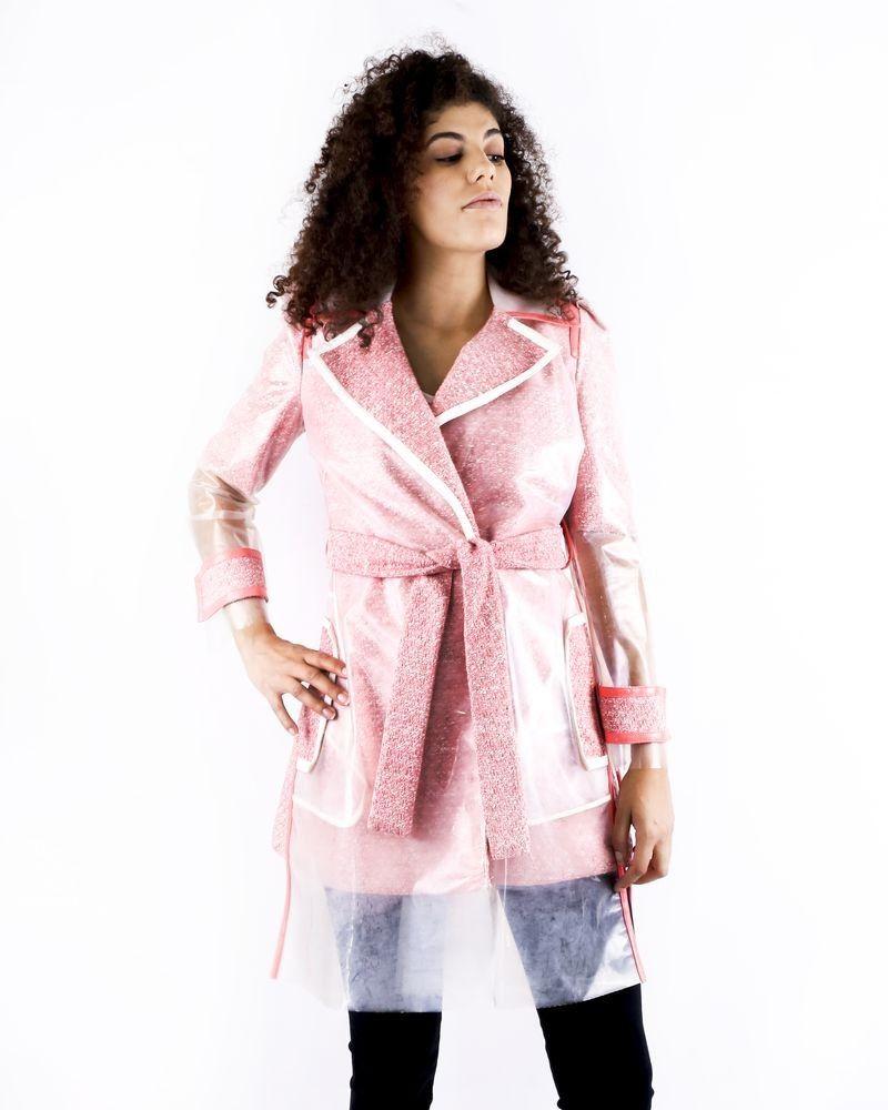 Trench coat bi matière saumon Elisabetta Franchi