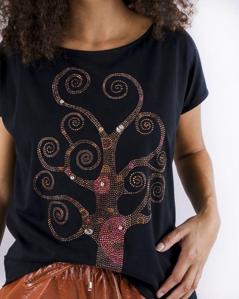 T-Shirt noir à broderie floral Jijil