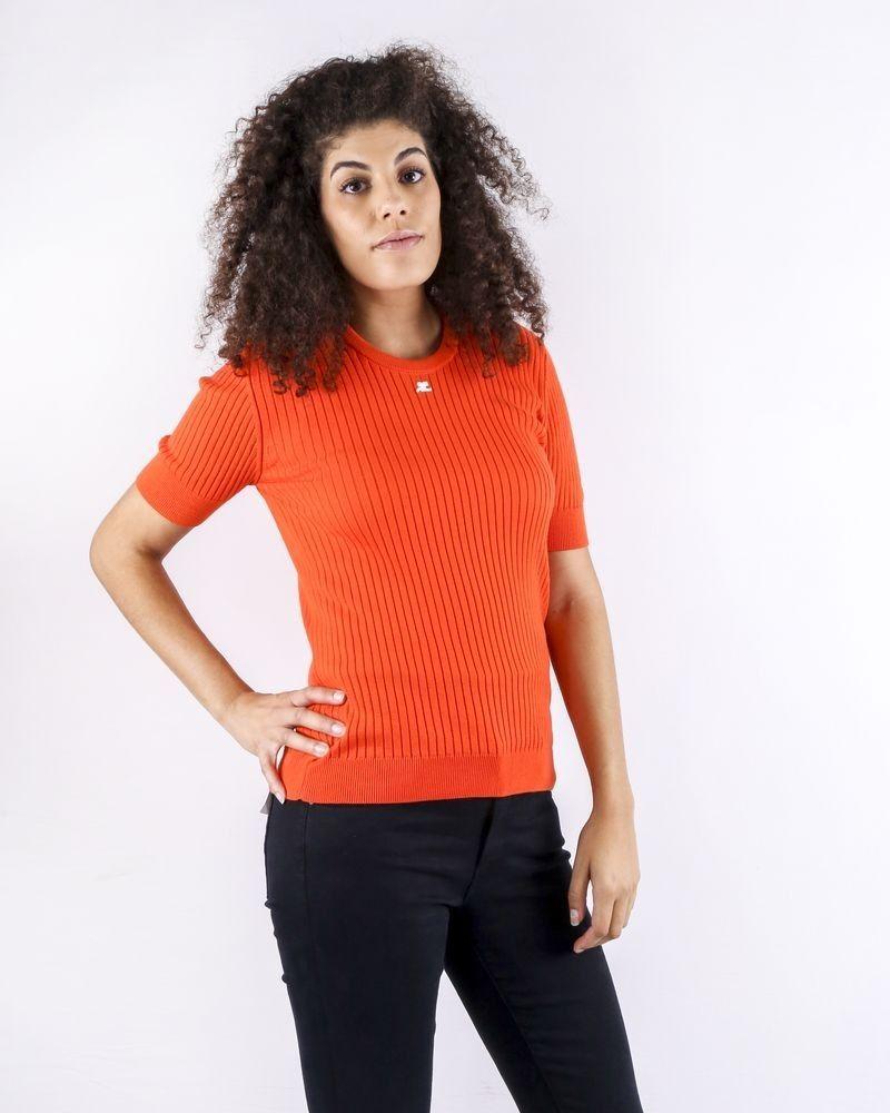 Pull en coton côtelé orange Courrège