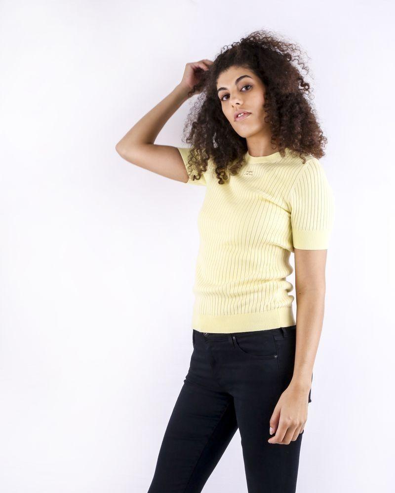 Pull en coton côtelé jaune Courrège