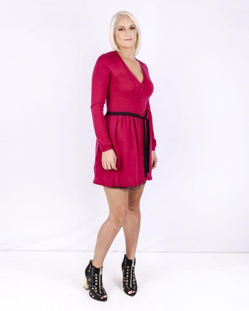 Robe façon gilet en laine rose Valentino