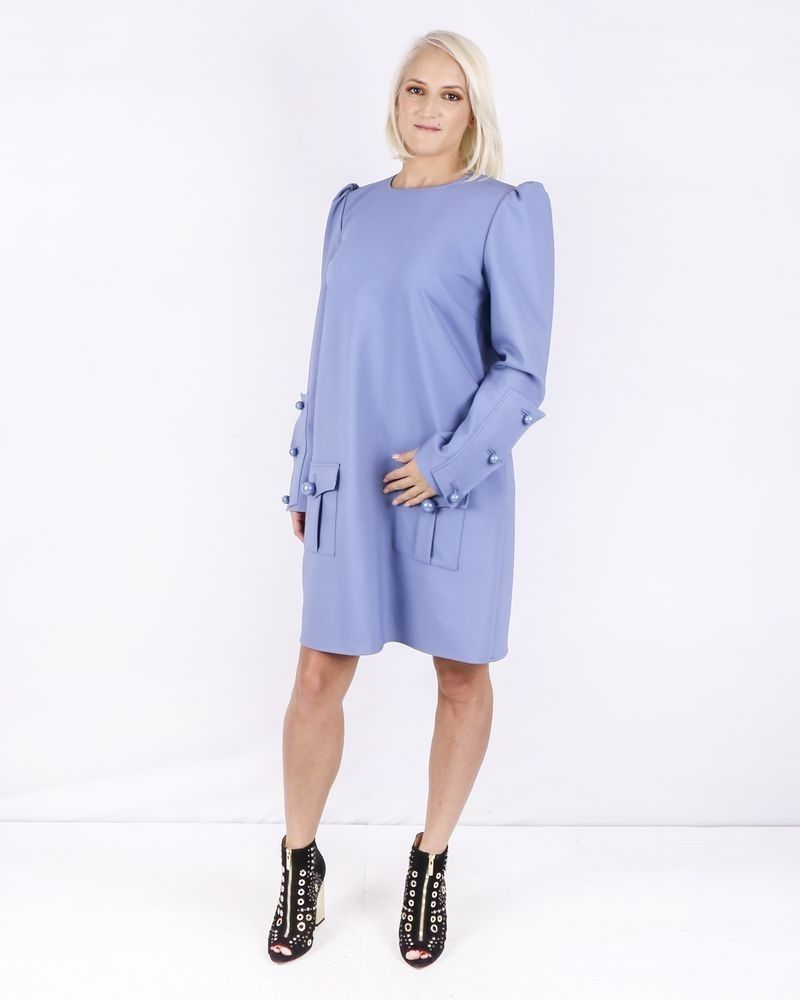 Robe en crêpe bleue à poches cargos Elisabetta Franchi