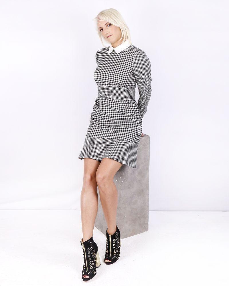 Robe en laine bicolore à carreaux Valentino
