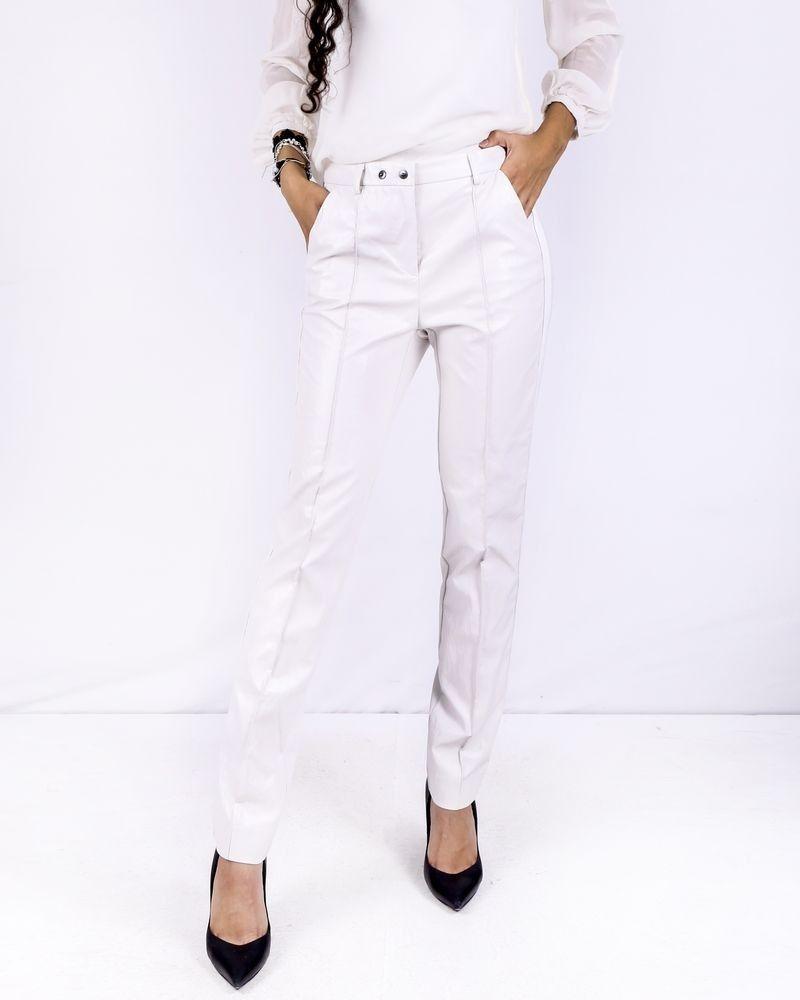 Pantalon cigarette bimatière blanc Nude