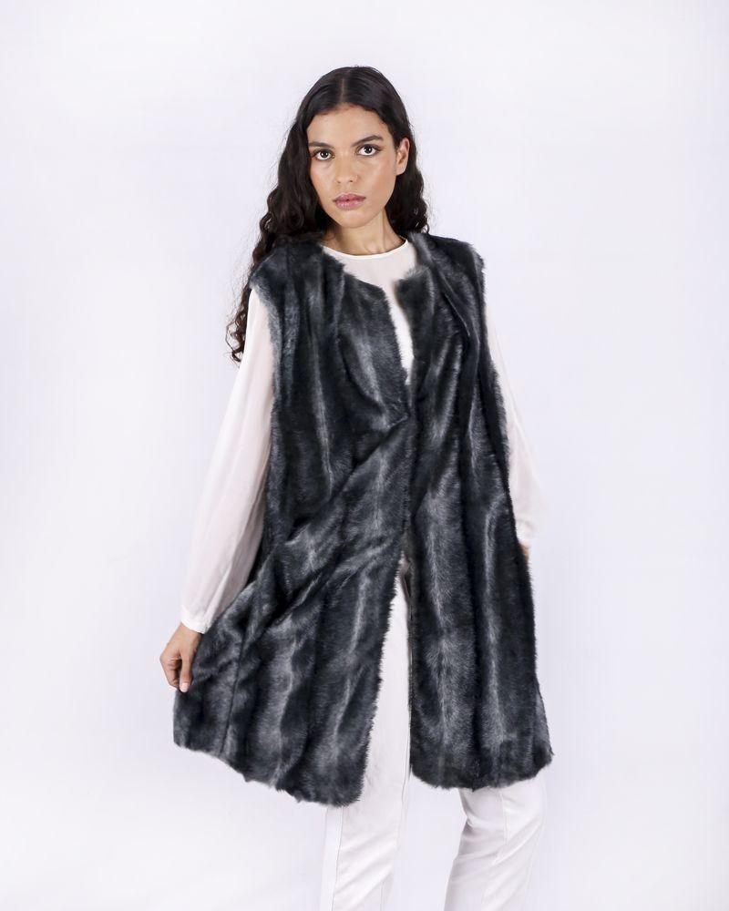 Manteau sans manches en fourrure synthétique Maria Grazia Severi